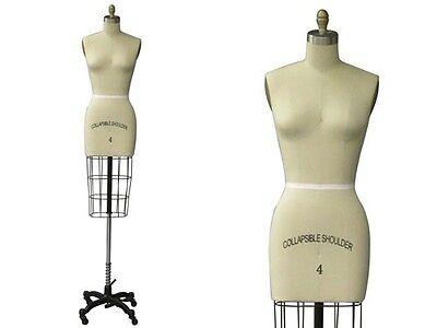 Professional Pro Working Dress Form Pinnable Female Half Body Size 4arm