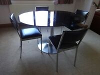 Retro glass and chrome dining table and 4 chairs