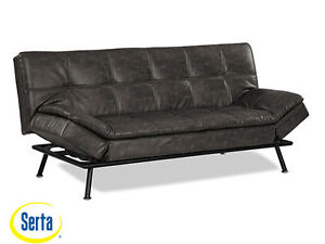 New Myst Convertible Sofa Charcoal Burl by Serta