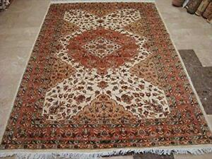 Awesome Ivory Medallion Abstract Rectangle Area Rug Hand Knotted Wool Silk Carpet (8 x 6)'