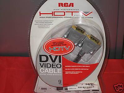 RCA HDTV DVI (Digital Video Interface) Video Cable 9 ft 24k (Dvi Digital Video Interface)