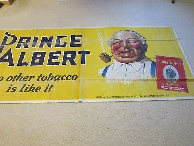 "VINTAGE PRINCE ALBERT CLOTH ADVERTISING BANNER 1950-60 95""X44"""