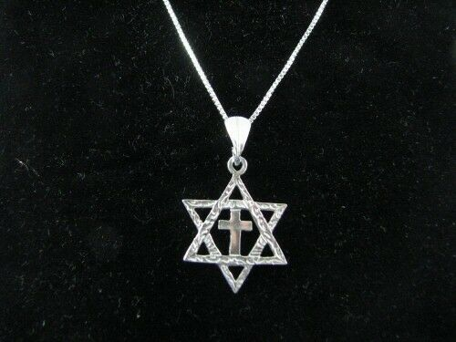 10 X Sterling Silver Messianic Star of David & Cross Pendant Necklaces