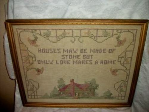 1920s CROSS STITCH LINEN SAMPLER QUOTE COTTAGE FLOWERS Lg GOLD WOOD FRAME