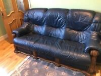**REAL LEATHER** VINTAGE STYLE 3 SEATER SOFA COUCH