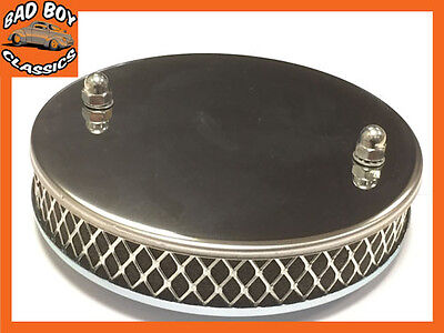 Chrome Finish Stainless Steel Pancake Sports Air Filter SU 1 3/4