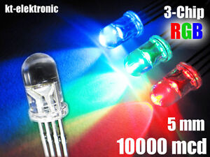 10 Stück LED 5mm RGB 4 Pin ultrahell, gem.Plus 10000mcd