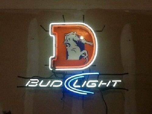New Denver Broncos Bud Light Logo Bar Man Cave Neon Sign 32""