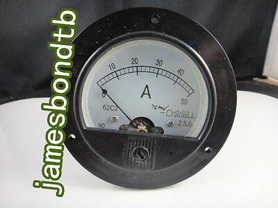 Round Analog Amp Panel Meter Current Ammeter 62c2 Dc 0-50a Shunt