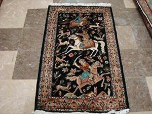 Awesome 3 Horses King Hunting Hand Knotted Fine Rug Carpet (4 x 2.6)'