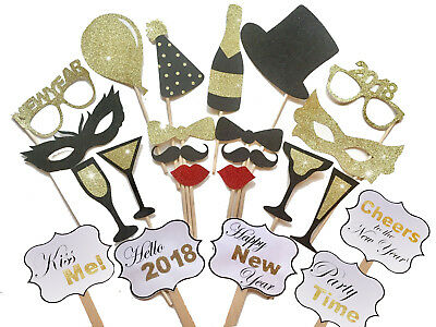 23PCS 2018 New Year's Eve Party Flash Card Masks Photo Booth Props Mustache - Cheap New Years Decorations