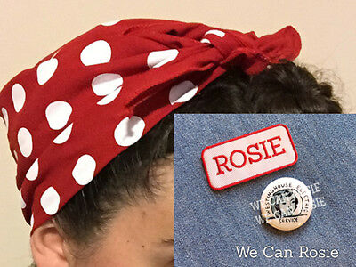 3-piece Rosie the Riveter costume (Head scarf + Pin + ROSIE patch, Rosie - Rosie Riveter Costume