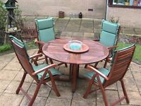 4 CHAIR Hard Wood TEAK FINISH Garden Patio Set ROUND Table, CUSHIONS, LAZY SUSAN