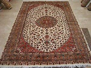 Awesome Ivory Kasha Medallion Rectangle Area Rug Hand Knotted Wool Silk Carpet (8 x 6)'
