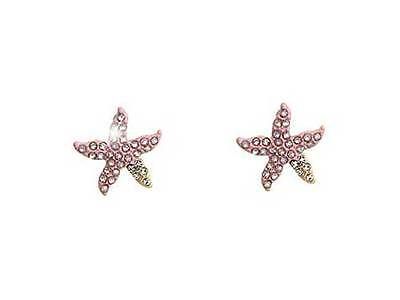 STARFISH EARRINGS Pink Crystal Designer Style Star Fish Pierced Post (Crystal Post Style Earrings)