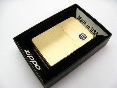 ZIPPO Full Size BRUSHED BRASS Classic Windproof Lighter 204B New!