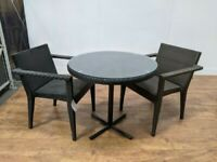 New Heavy Duty Outdoor 2 Seat Rattan Table Chair Set 800mm Round
