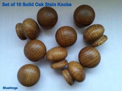 Wooden Kitchen Cabinets (Set of 10 Oak Wooden Dark Stain  Knobs Drawer Kitchen Cabinets 40 mm diameter )