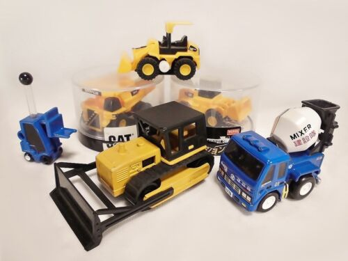 Lot of 6 Construction Vehicles Forklift Bulldozer Dump Truck Mixer Car Takara