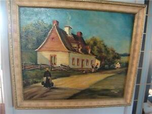 OIL PAINTING  SIGNED A. HENRICHON DUTCH  LADY FARM HOUSE OIL ON