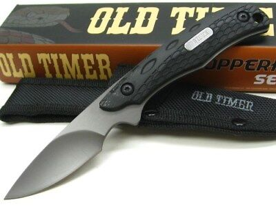 Schrade 2156OT Old Timer Copperhead Black Caping Fixed Blade Knife + - Caping Fixed Blade Knife