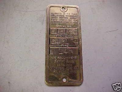 Old Briggs Stratton Gas Engine Brass Serial Tag 14