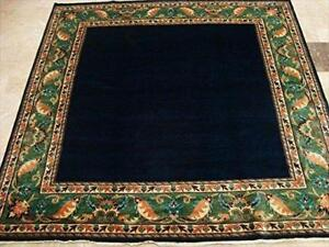 Mid Night Gabbeh Afghan Dark Blue Square Area Rug Hand Knotted Carpet (6.5 X 6.8)'