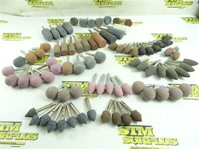 "83 NEW! ABRASIVE MOUNTED POINTS- ASSORTED SHAPES 1/4"" SHANKS POINTED TREE BALL +"