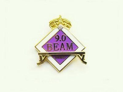CONGRATULATIONS - 9.0 Beam Gymnastics Award Lapel Pin - With Crystal In Crown