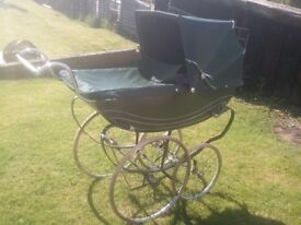 coach-built carriage bouncy pram dark green exc. cond. £275 (Nottingham NG5)