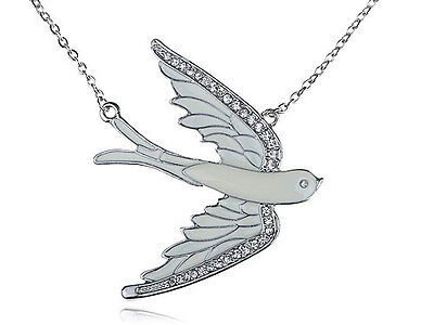 Beautiful Clear Crystal Rhinestone Painted Flying Dove Bird Pendant Necklace
