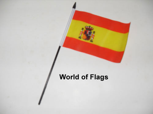 """SPAIN SMALL HAND WAVING FLAG 6"""" x 4"""" Spanish Crafts Table Desk Display"""