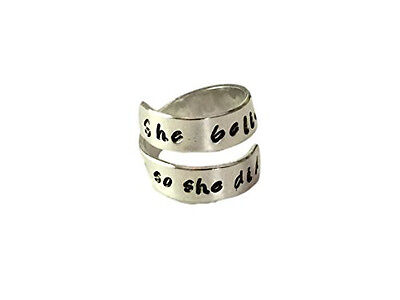 She Believed She Could, so She Did Spiral Twist Ring, Handstamped Aluminum