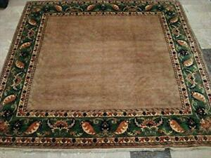 Afghan Gabbeh Beige Tan Square Area Rug Wool Hand Knotted Carpet (6.9 x 6.7)'
