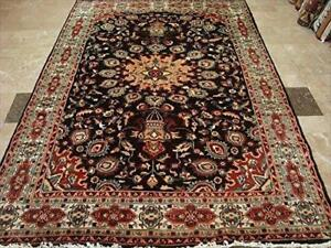 Exclusive Chocolate Brown Rectangle Area Rug Hand Knotted Wool Silk Carpet (9 X 6)'