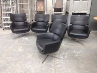 STUNNING BLACK LEATHER CHROME BASED SWIVEL TUB CHAIR, EXCELLENT CONDITION, RETRO