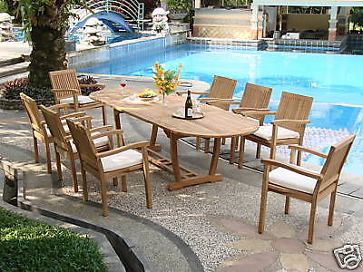 """9-piece Outdoor Teak Dining Set: 117"""" Oval Ext Table, 8 Stacking Arm Chairs Leve"""