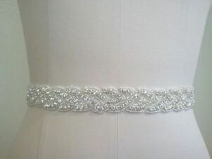 Bridal Sash, Bridal Belt, Wedding Dress Sash Belt, Vintage Rhinestone Crystal