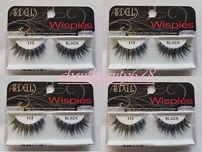 (Ardell Fashion Lashes #113 Eyelashes Black 4 pack-Free Ship)