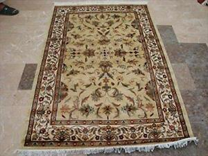 Wow Cream Ivory Medallion Floral Lovely Area Rug Hand Knotted Wool Silk Carpet (6 X 4)'