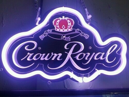 """New Crown Royal 3D Carved Neon Light Sign 14"""" Beer Cave Gift"""