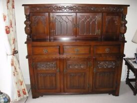 Old Charm Court Cupboard by Wood Brothers in Tudor Brown finish