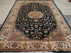 Wow Mid Night Blue Lovely Medallion Area Rug Hand Knotted Wool Silk Carpet (6 x 4)'