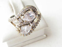 Beautiful 925 Sterling Silver White Topaz Ring Sz 8