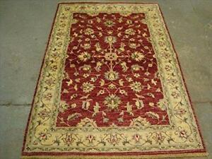 Chobi Mahal Zeigler Exclusive Vege Dyed Area Rug Hand Knotted Wool Carpet (5.11 x 4.1)'