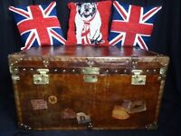 Large English Leather Nautical Steamer Luggage Coffee Table Campaign Chest