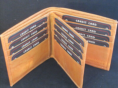MENS WALLET WIDE MIDDLE FLAP TAN 12 CREDIT CARD SLOTS SPECIAL RARE WALLET Flap Mens Wallet