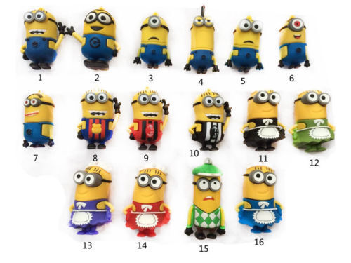 Cartoon Minions Toy Model USB 2.0 Memory Stick Flash pen Drive 4G 8GB 16GB 32GB