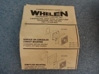 Whelen Cat. No. Wa1052f Quadra-tone Speaker Wbox And Installation Instructions