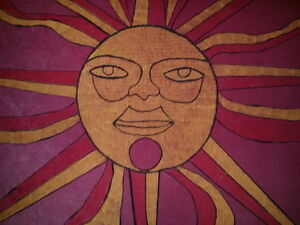SUN PAINTING . . fr 1970 ORIGINAL with WOOD FRAME